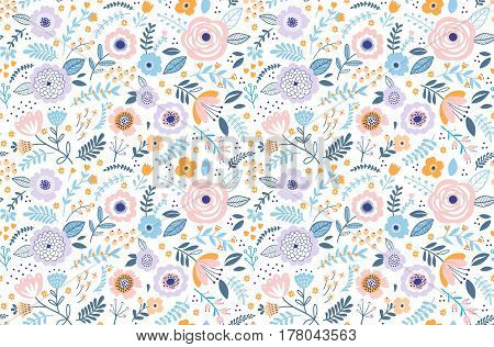 Seamless pattern with flowers for design. Small colorful multicolor flowers. White background. Modern floral background. The elegant the template for fashion prints. Spring bouquet.