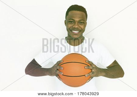Adult Man Hands Hold Basketball Sport Studio Portrait
