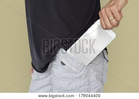 Taking Out Smart Phone Pocket