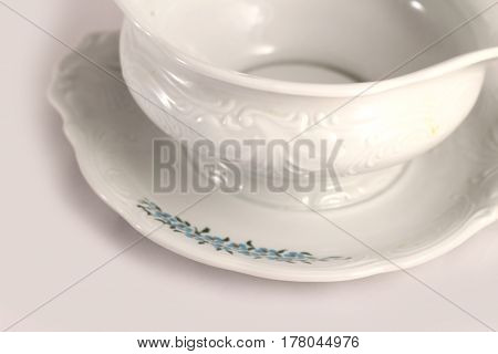 Luxurious Very Fancy And Nice White Porcelain Bowl Detail. Decorative