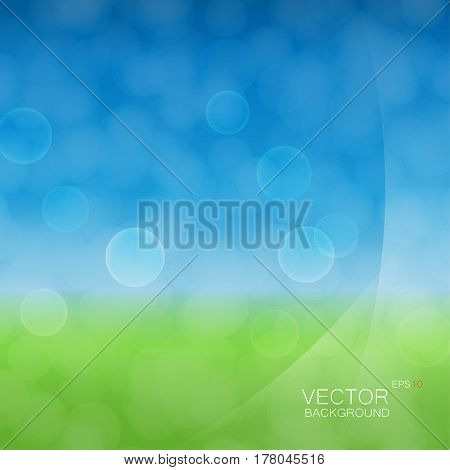 Light cloudy circles like bokeh effect on green and blue gradient background and with light smooth layers on a side