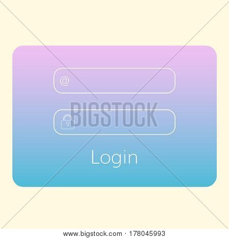 colorful login form  interface for website  translucent