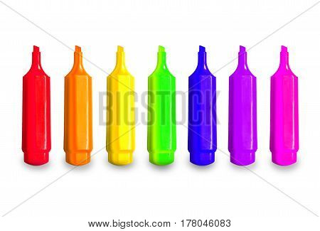 Isolated Rainbow Of Colorful Pen Markers. Happy Childhood For Children At School Or Kindergarten