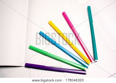 Felt Tip Pens On A Checkered Notebook In Row