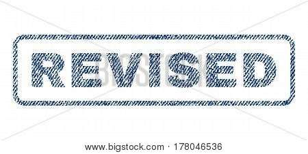 Revised text textile seal stamp watermark. Blue jeans fabric vectorized texture. Vector tag inside rounded rectangular banner. Rubber sign with fiber textile structure.