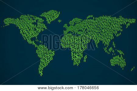 bstract World map with signs of the us dollar. Vector