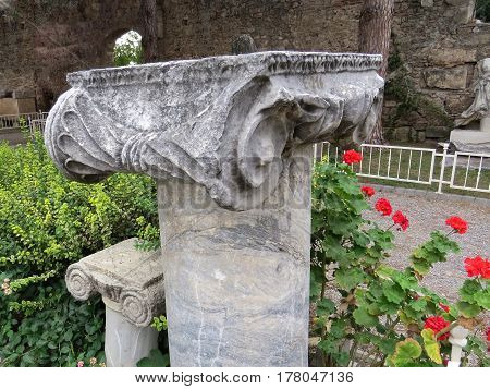 Ancient marble column on the ruins of the ancient city of Side
