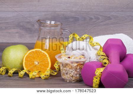 Fitness Concept On Wooden Background