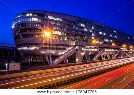 Frankfurt am Main, Germany - 24 March 2017 : Landmark of airport city Frankfurt, Frankfurt airport long distance train station.