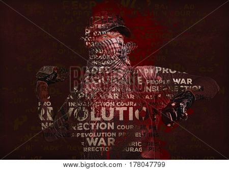 Man holding stone in a hand. Digitally generated image. Conceptual photo of revolution and war