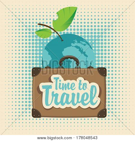 vector banner with a travel suitcase against the backdrop of the planet earth in the form of an Apple with leaves the inscriptions time to travel