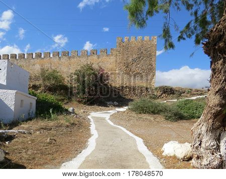 Towers and walls of the medieval Venetian castle of Frangokastello, southern coast of the island of Crete, Greece