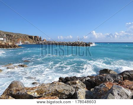 Libyan Sea, the historic port of Chora Sfakion in the storm, the southern coast of the island of Crete, Greece