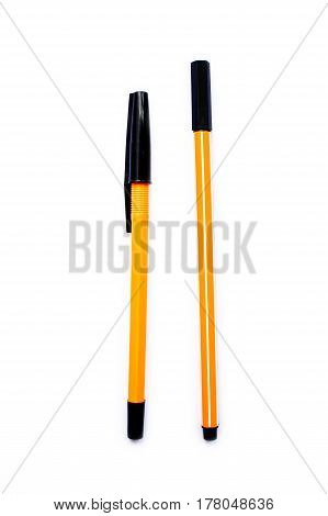 Simple Yellow Black Pen Isolated On White Background