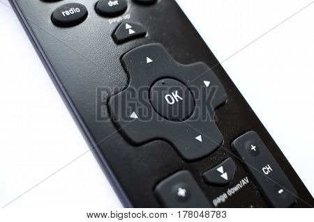 Black Remote Control Detail Isolated On White Background