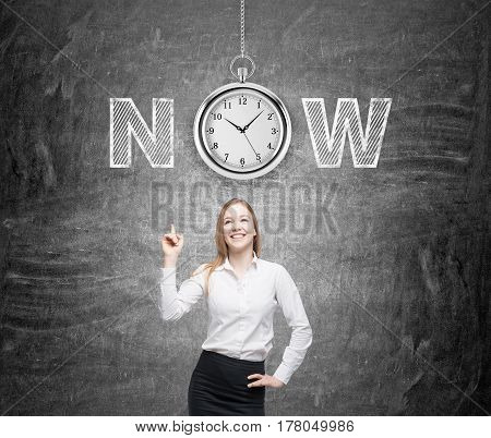 Positive Woman And Clock