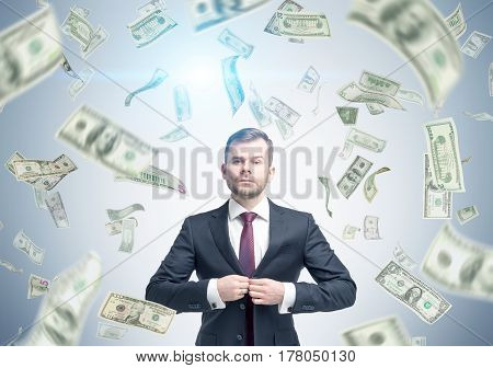 Bearded Businessman Under Dollar Rain