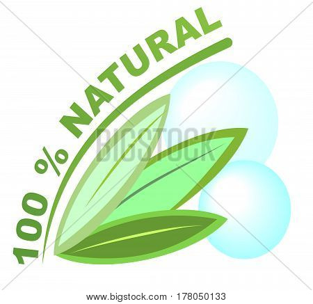 Label 100 percent natural for healthy natural products, designation of health food supplements