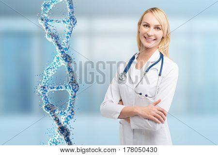 Blond Woman Doctor And A Dna