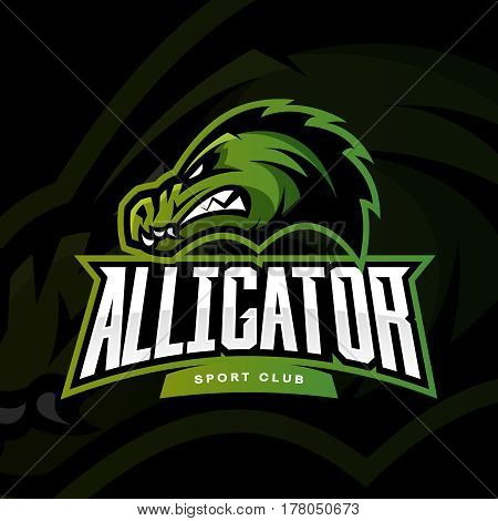 Furious alligator sport vector logo concept isolated on dark background. Professional team predator badge modern design. Premium quality wild animal t-shirt tee print illustration.