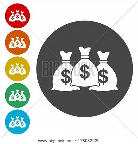 Money bag sign icon. Dollar USD currency symbol