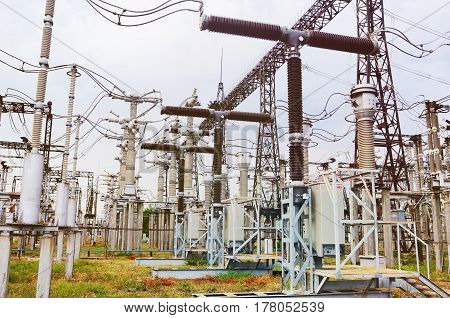 Outdoor switchgear Power. High voltage switch-yard. Power station, electricity, industry