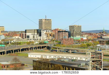 Saint John city skyline from the Fort Howe at the mouth of Saint John River, Saint John, New Brunswick, Canada.