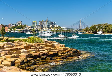Yachts in Sydney Harbour as seen from Barangaroo Reserve Park - Australia