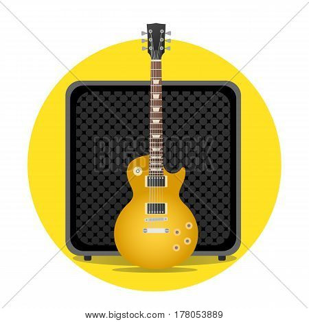 Yellow electric guitar with amp illustration. round icon. vector modern flat design. rock musical instruments.