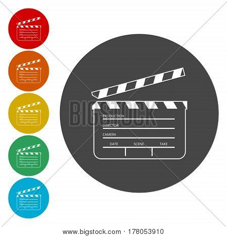 Simple movie flap, circle icon on white background