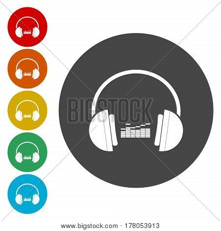 Vector music concept - headphones icon, simple vector icon
