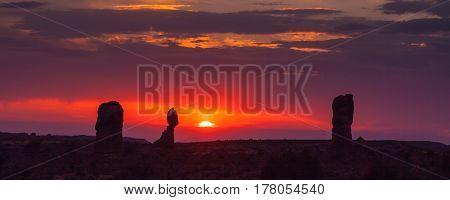 a beautiful sunset tin Arches National Park Utah