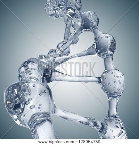 Science background with DNA molecules from water on gray. 3D rendering