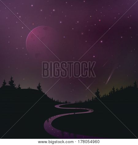 The silhouette of the forest with an enchanting starry sky vector illustration