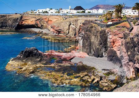 Coastal landscape in the south of Lanzarote, Canary islands, las Coloradas beach to the East of Playa Blanca