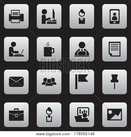 Set Of 16 Editable Bureau Icons. Includes Symbols Such As Printing Machine, Pennant, File And More. Can Be Used For Web, Mobile, UI And Infographic Design.
