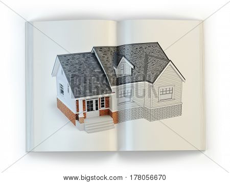 Draft of the house. Concept of  magazine of construction, architecture and design . 3d illustration