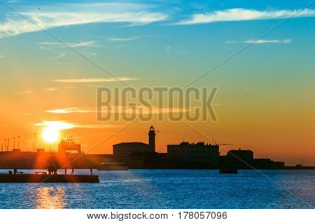 Sunset In Front Of The City Of Trieste