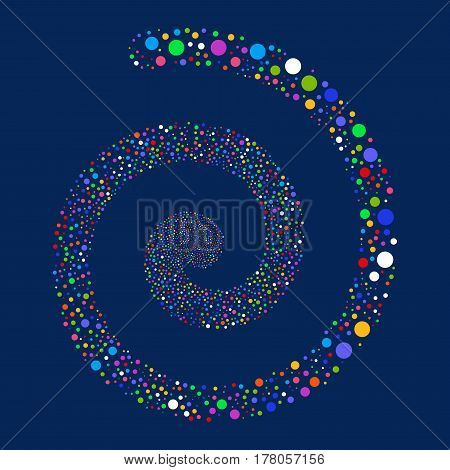 Circle fireworks burst spiral. Vector illustration style is flat bright multicolored scattered symbols. Object whirlpool combined from random icons.