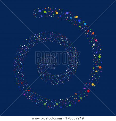 Click fireworks whirl spiral. Vector illustration style is flat bright multicolored scattered symbols. Object vortex combined from scattered icons.