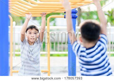 Boy Play With Bar