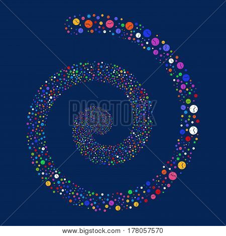 Clock fireworks burst spiral. Vector illustration style is flat bright multicolored scattered symbols. Object helix made from scattered symbols.