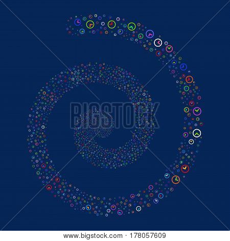 Clock fireworks whirl spiral. Vector illustration style is flat bright multicolored scattered symbols. Object burst done from scattered icons.