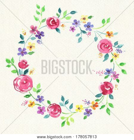 Painted watercolor wreath of stylized flowers.