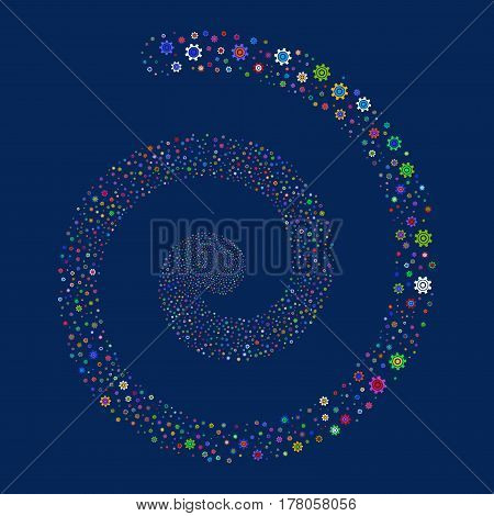 Cogwheel fireworks whirl spiral. Vector illustration style is flat bright multicolored scattered symbols. Object whirl created from random pictograms.