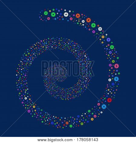 Cogwheel fireworks whirl spiral. Vector illustration style is flat bright multicolored scattered symbols. Object burst organized from random symbols.