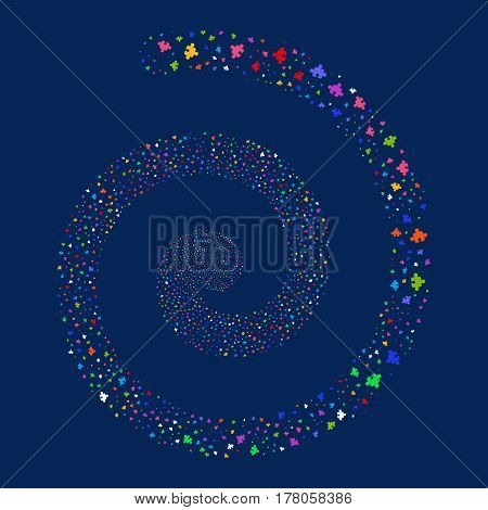 Component fireworks swirling spiral. Vector illustration style is flat bright multicolored scattered symbols. Object twirl constructed from scattered pictograms.