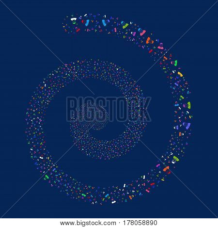 Boy fireworks swirl spiral. Vector illustration style is flat bright multicolored scattered symbols. Object whirlpool constructed from scattered icons.