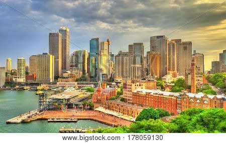 Skyline of Sydney central business district at Circular Quay - Australia