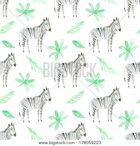 seamless pattern with zebra and foliage.watercolor hand drawn illustration.white background.animals image.